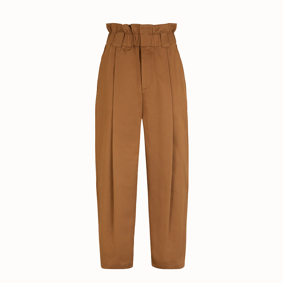 FENDI TROUSERS - Brown gabardine trousers - view 1 detail