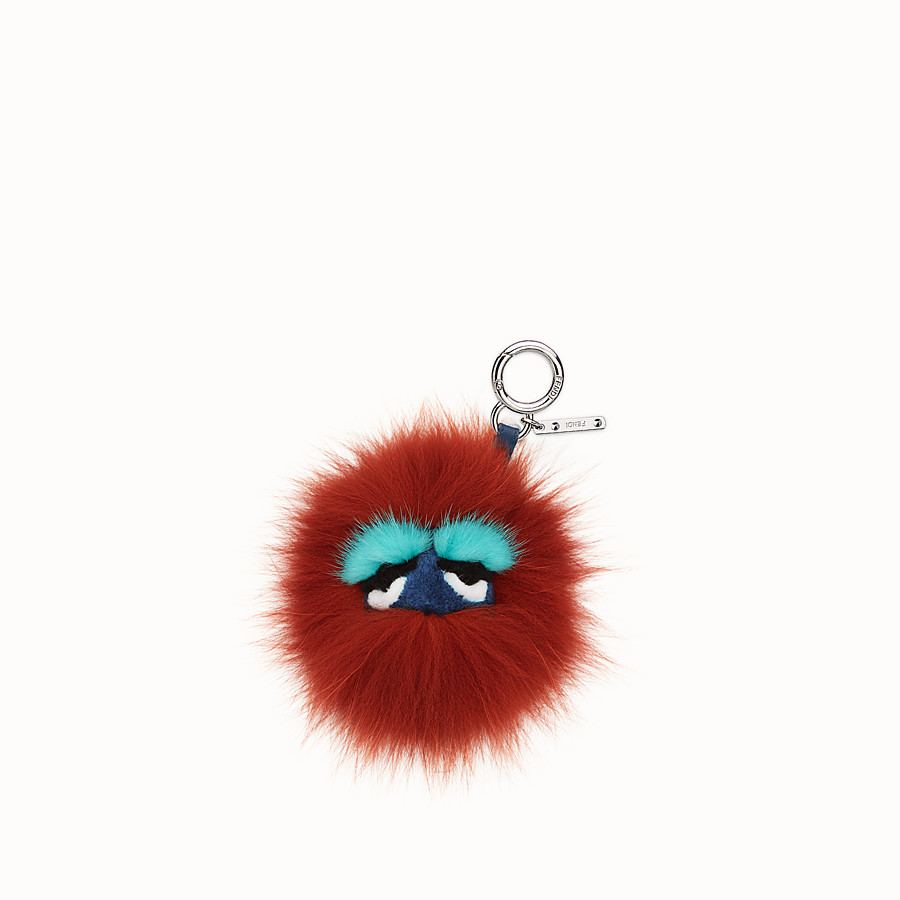 FENDI MINI EYE KEY CHARM - in fur in shades of red - view 2 detail