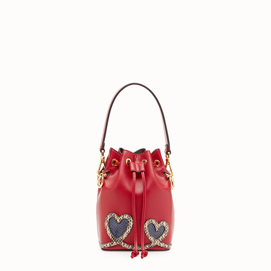 FENDI MON TRESOR - Red leather mini-bag with exotic details - view 1 detail