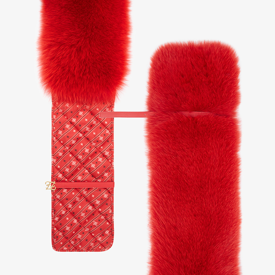 FENDI STOLE - Stole in red fox fur and silk - view 1 detail