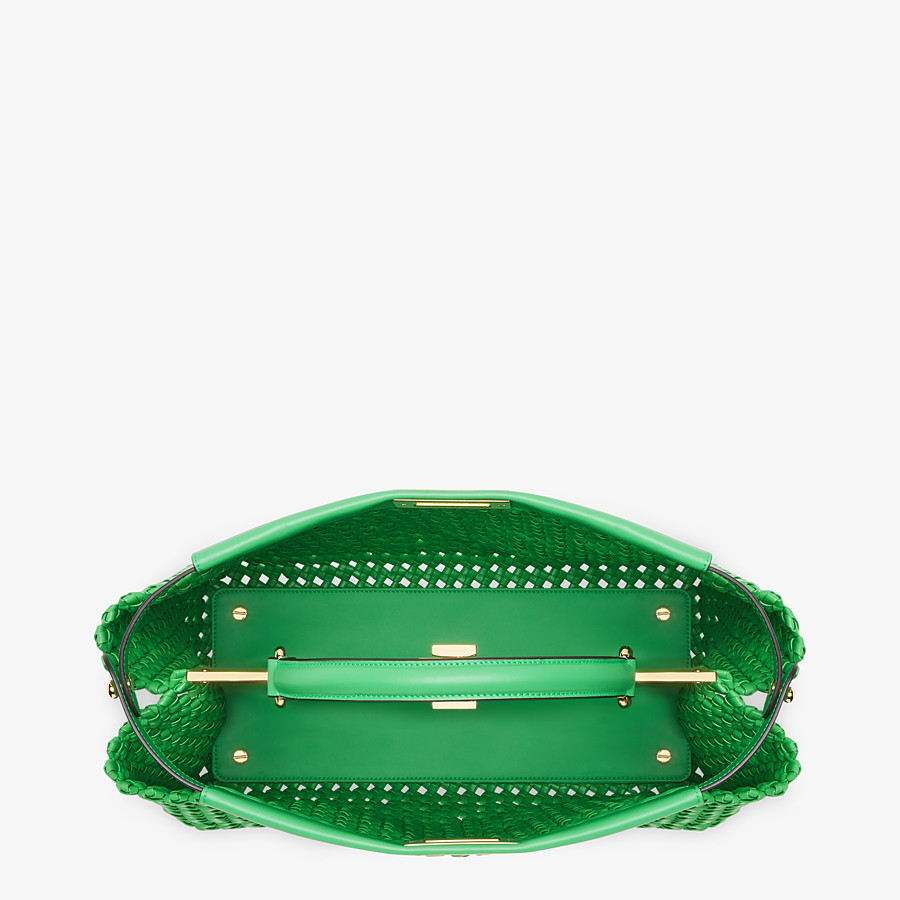 FENDI PEEKABOO ICONIC LARGE - Green leather interlace bag - view 5 detail