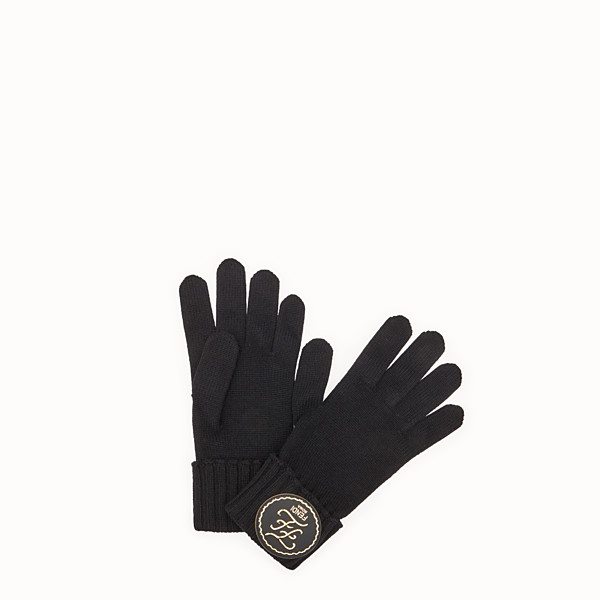 FENDI GLOVES - Black cashmere gloves - view 1 small thumbnail