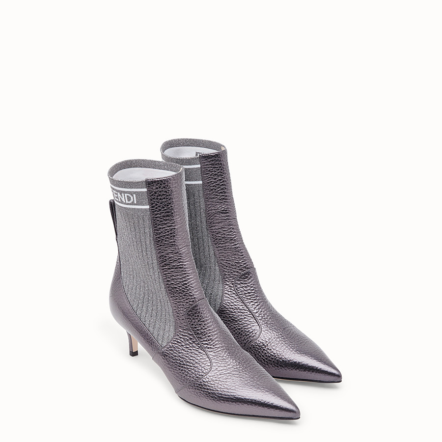 FENDI BOOTS - Grey leather booties - view 4 detail