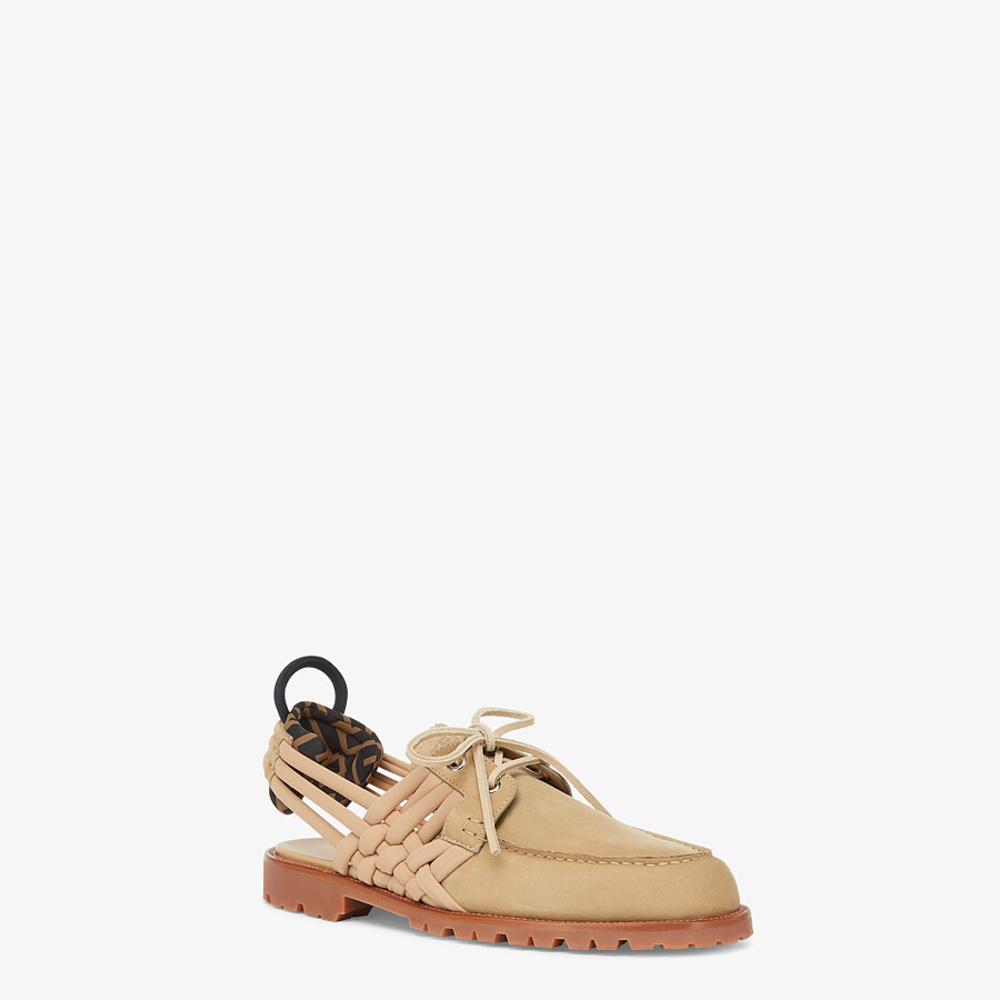 FENDI LOAFERS - Beige nubuck leather loafers - view 2 detail