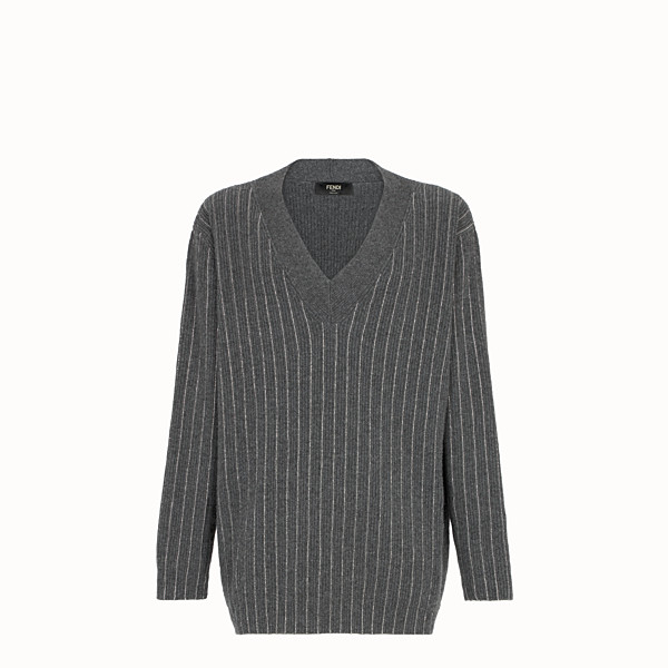 FENDI SWEATER - Gray cashmere sweater - view 1 small thumbnail