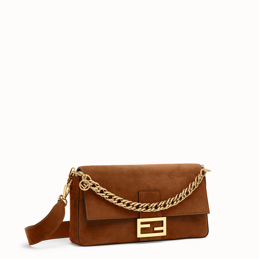 FENDI BAGUETTE LARGE - Brown suede bag - view 3 detail