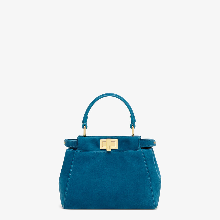 FENDI PEEKABOO ICONIC XS - Mini-Tasche aus blauem Veloursleder - view 1 detail
