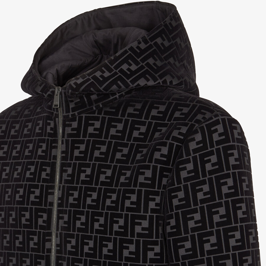 FENDI BLOUSON JACKET - Black jersey sweatshirt - view 3 detail