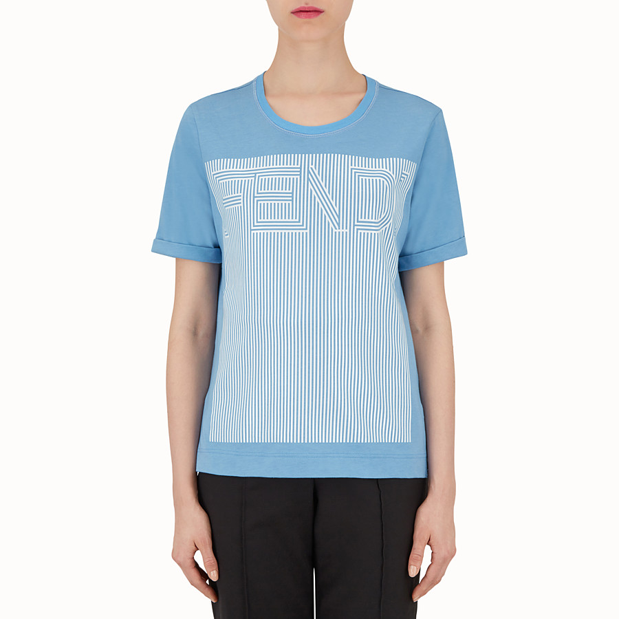 FENDI T SHIRT - Light blue cotton T-shirt - view 1 detail
