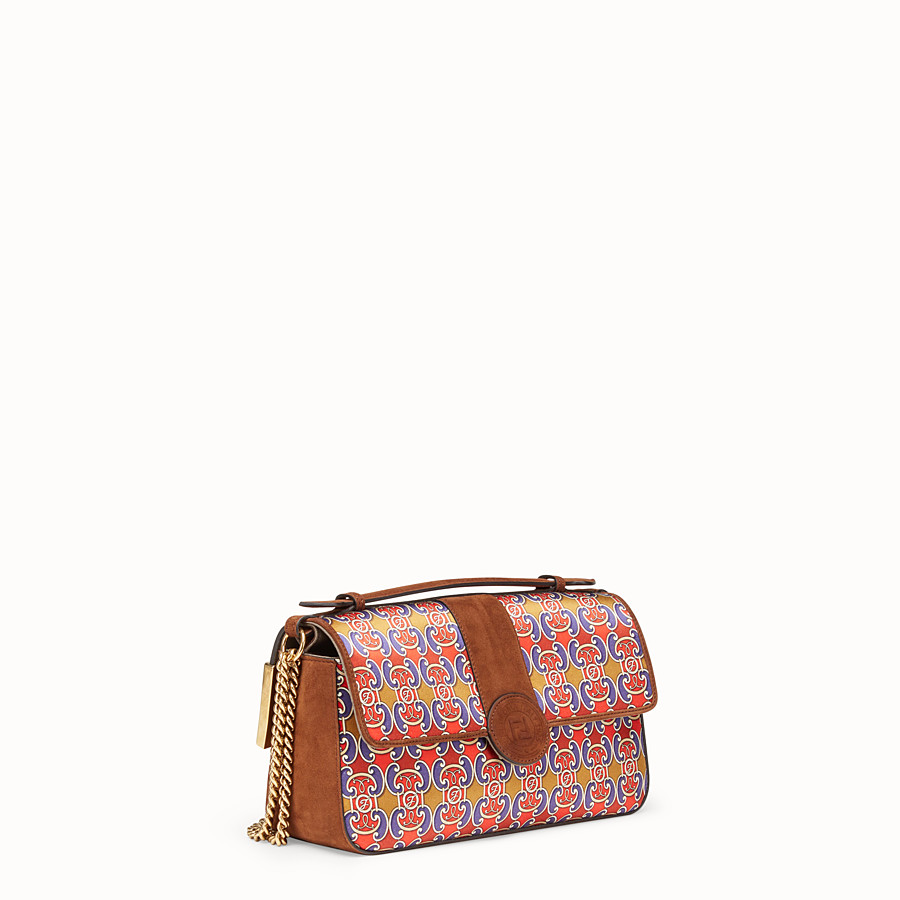 FENDI DOUBLE F - Multicolour suede and satin bag - view 2 detail