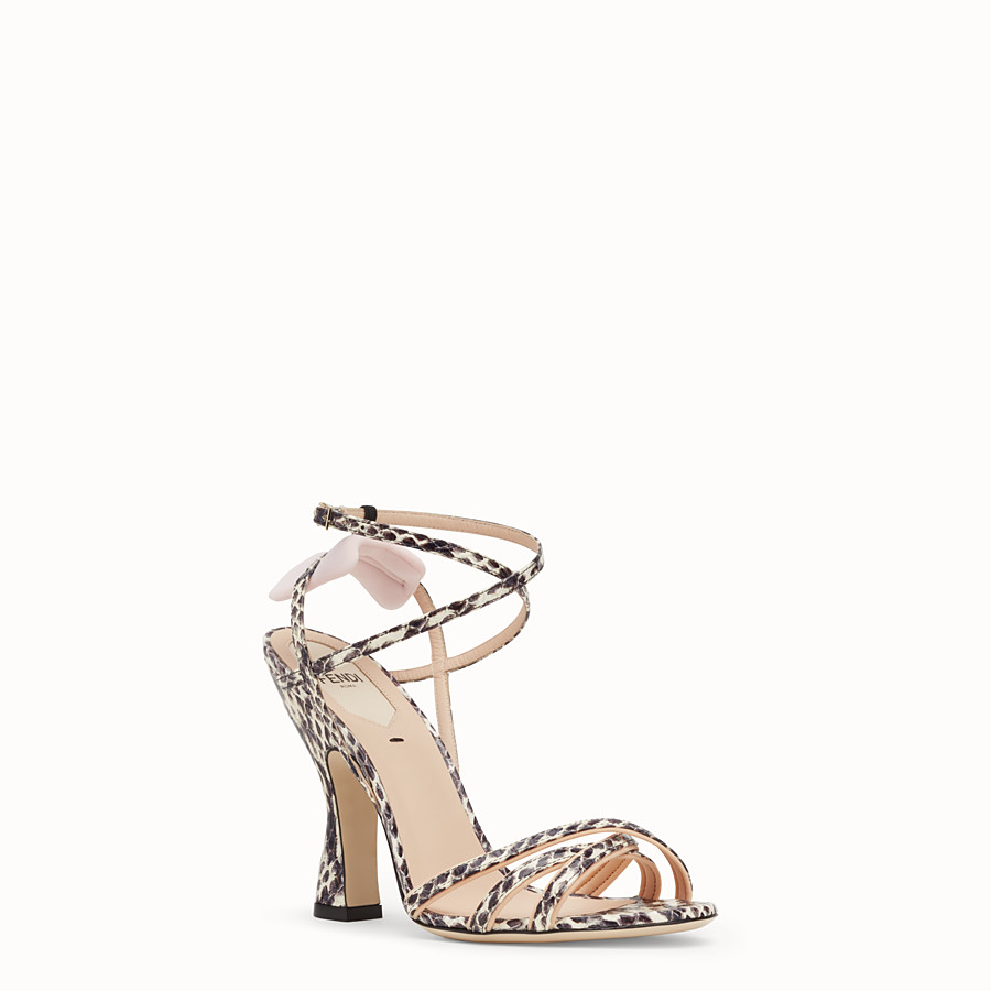 FENDI SANDALS - Rock-coloured elaphe sandals - view 2 detail