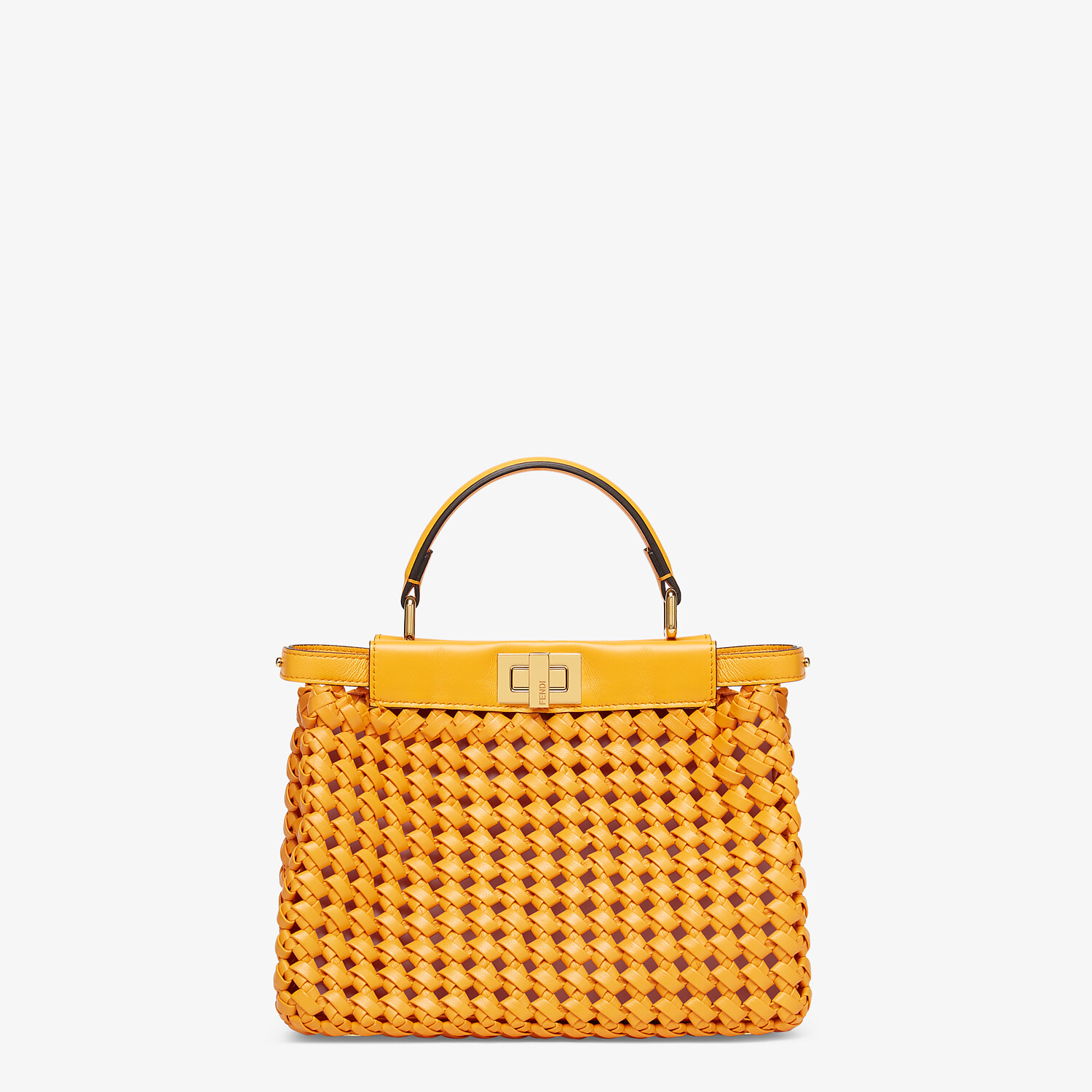 FENDI PEEKABOO ICONIC MINI - Orange braided leather bag - view 1 detail