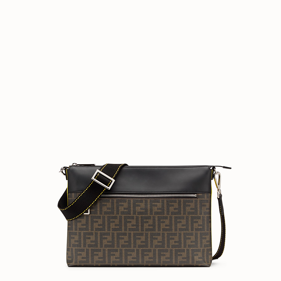 FENDI MESSENGER - Brown fabric pochette - view 1 detail