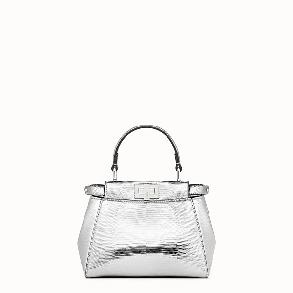 FENDI PEEKABOO ICONIC XS - Minibag in lizard argento - vista 1 thumbnail piccola