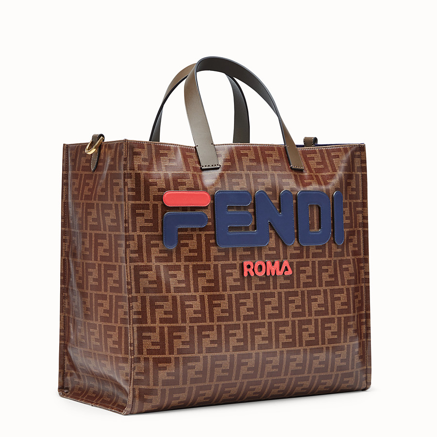 FENDI SHOPPER - Glazed multicolour fabric bag - view 2 detail