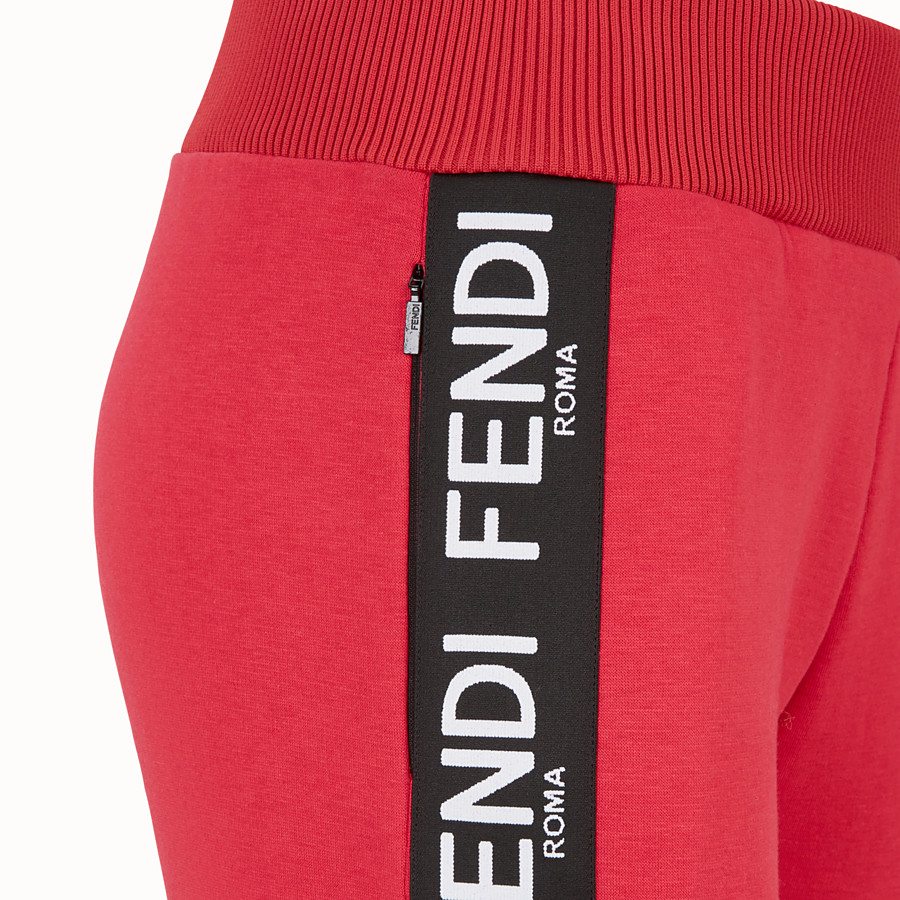 FENDI TROUSERS - Pink fabric jogging trousers - view 3 detail