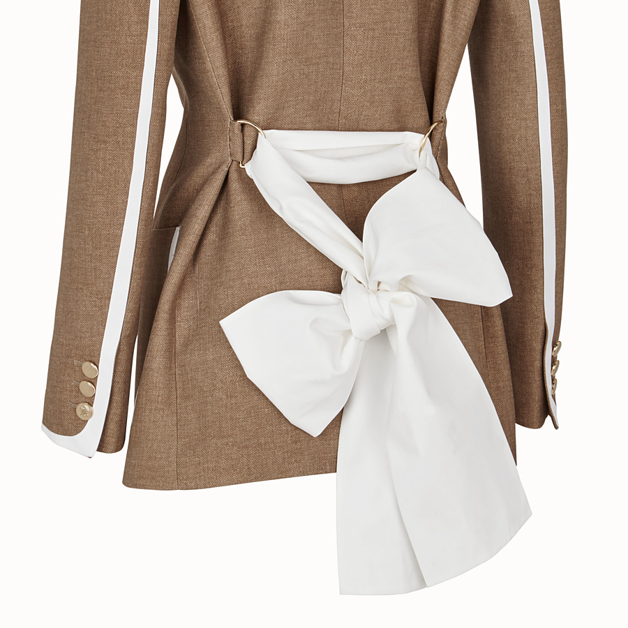 FENDI JACKET - Beige silk and wool jacket - view 3 detail