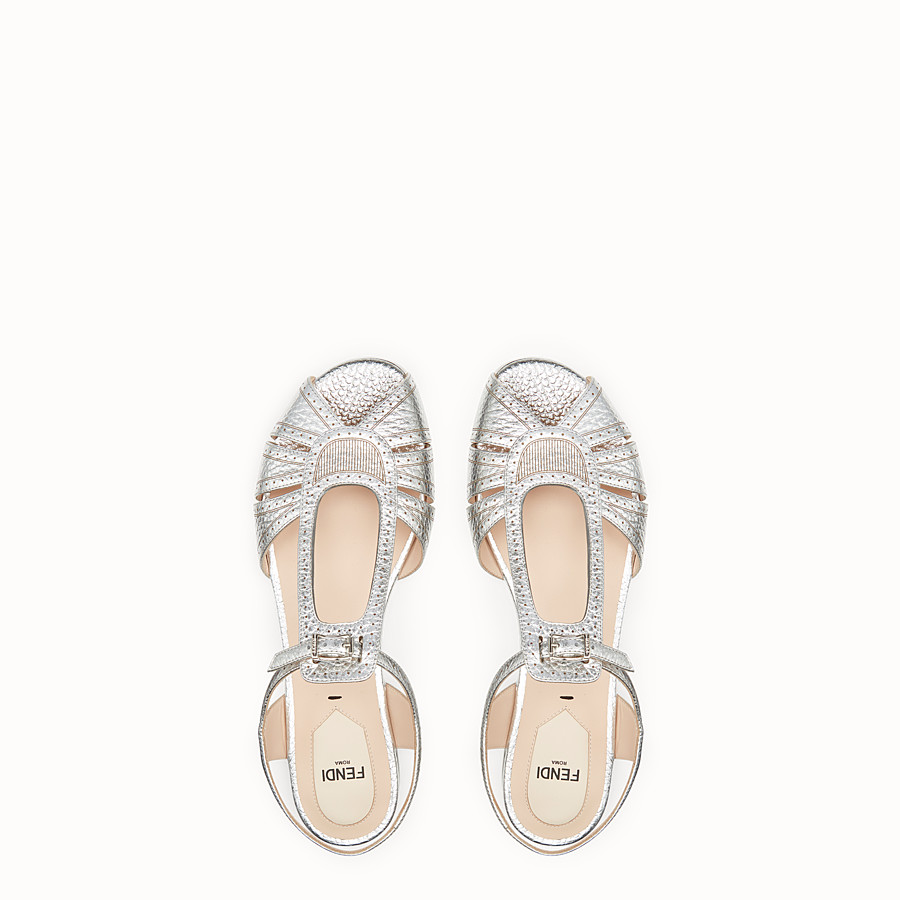 FENDI SANDALS - Silver leather flats - view 4 detail