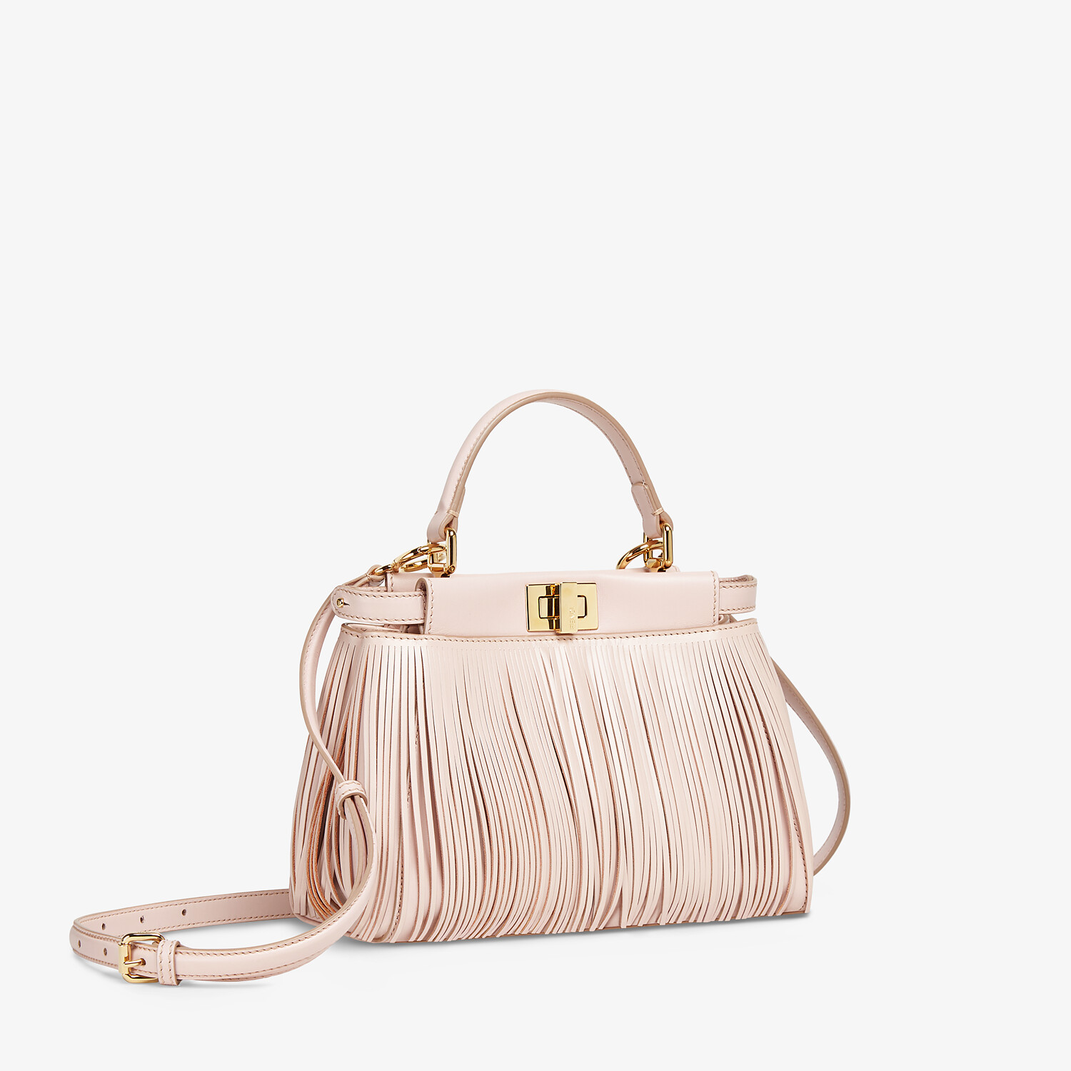FENDI PEEKABOO ICONIC MINI - Pink leather bag with fringes - view 2 detail