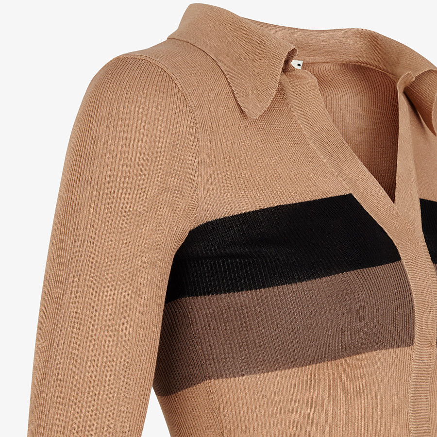 FENDI JUMPER - Beige silk jumper - view 3 detail