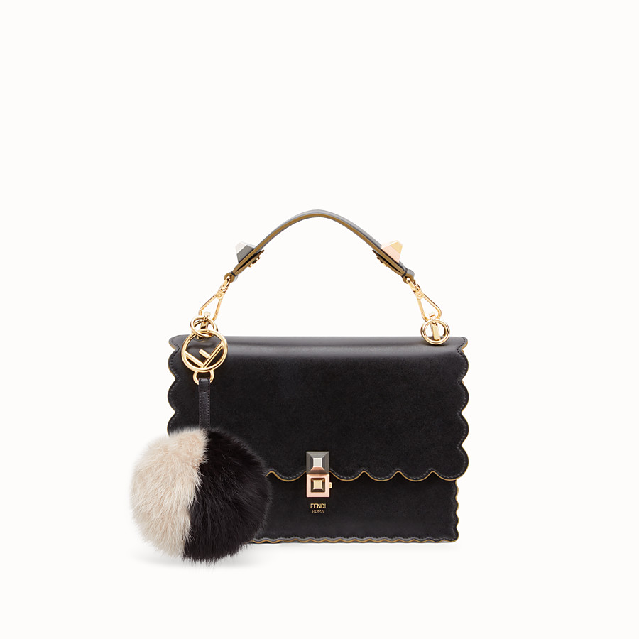 FENDI POM-POM CHARM - in black and white fur - view 2 detail