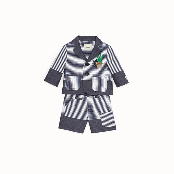 FENDI SUIT - in striped blue and white linen blend with cats graphic - view 1 small thumbnail