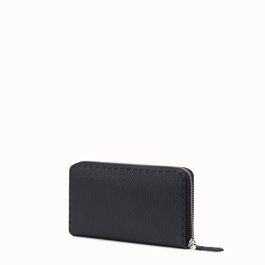 FENDI ZIP-AROUND - Black Roman leather wallet with exotic leather details - view 2 detail