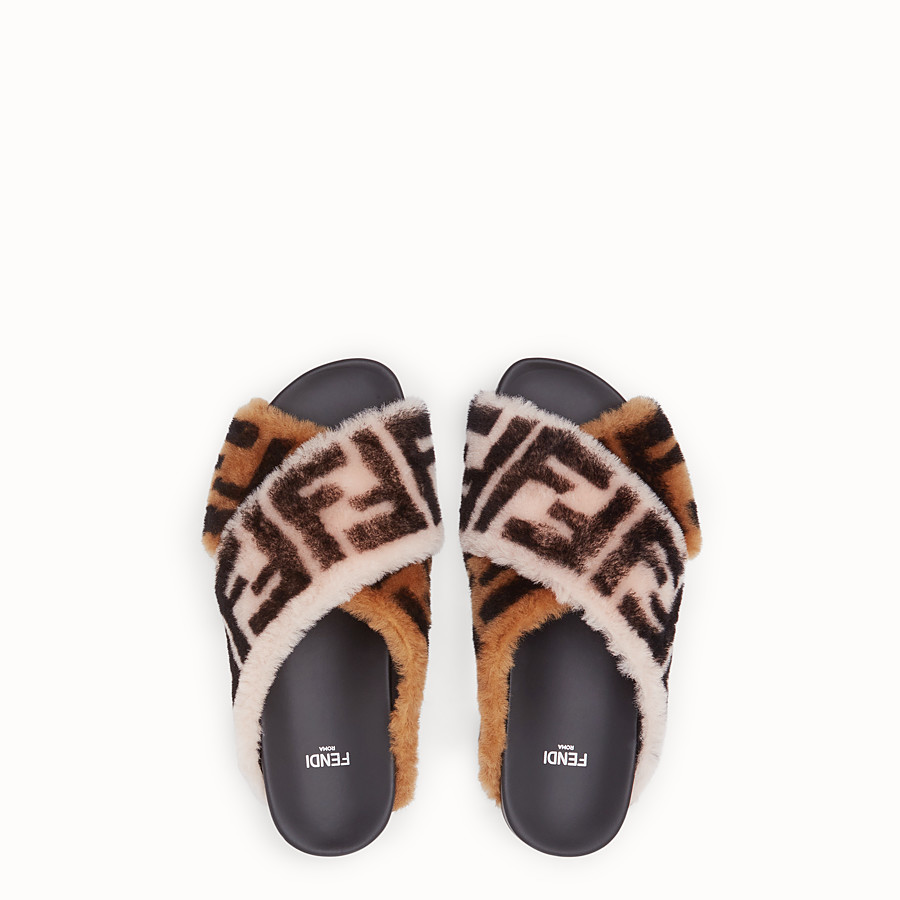 FENDI SANDALS - Multicolour sheepskin flats - view 4 detail