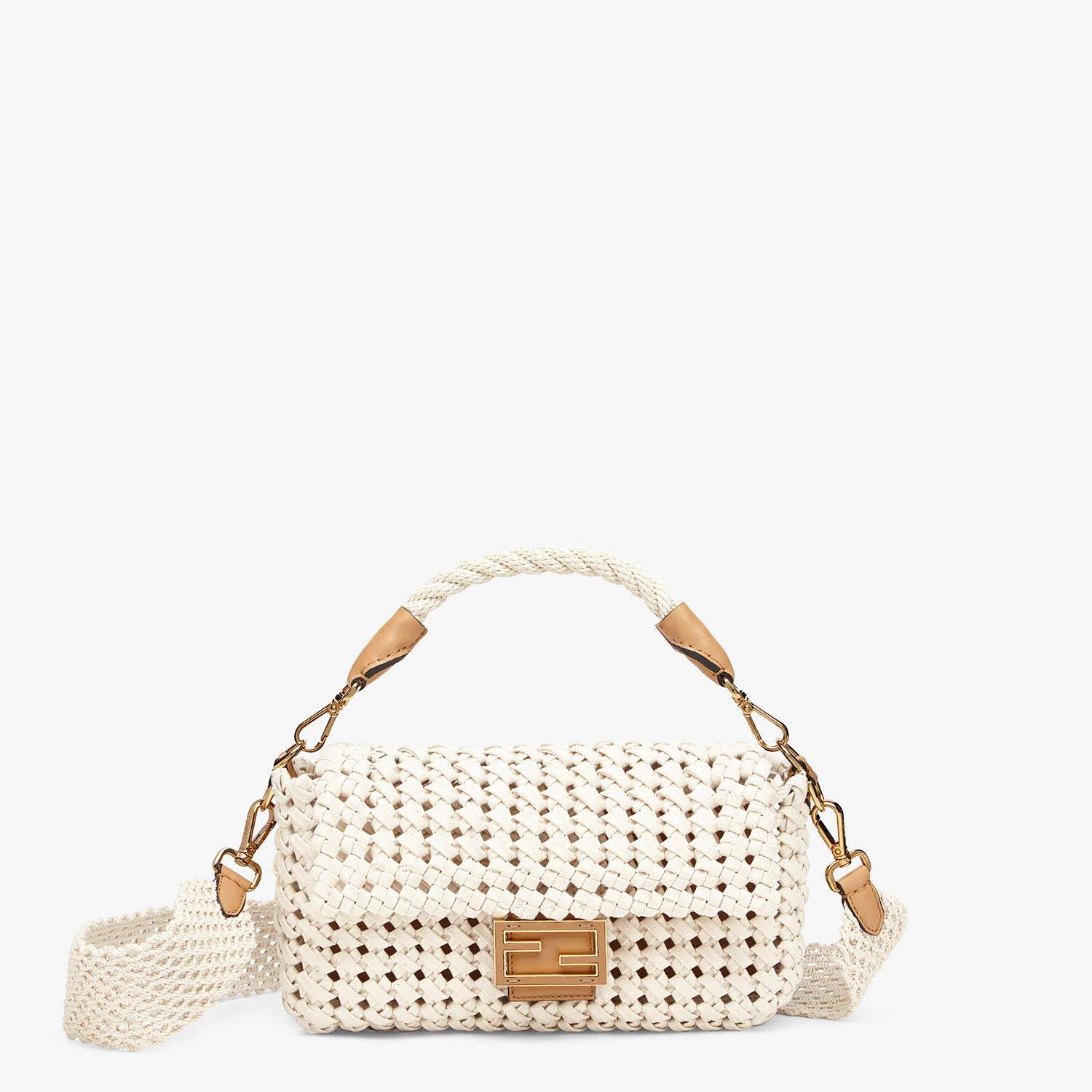 FENDI BAGUETTE - Tasche aus geflochtenem Canvas in Beige - view 1 detail