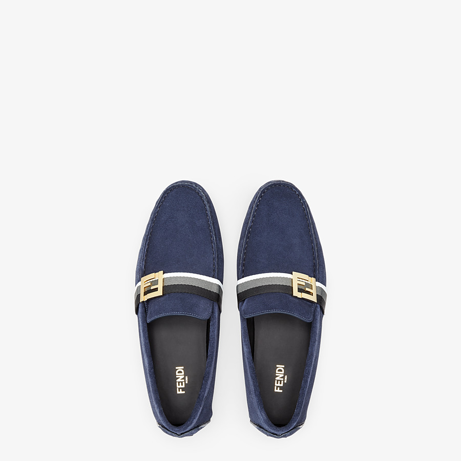 FENDI LOAFERS - Blue suede drivers - view 4 detail