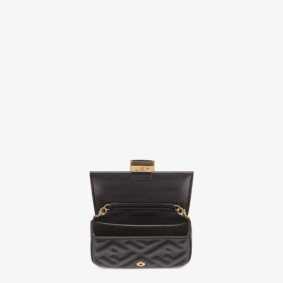 FENDI NANO BAGUETTE CHARM - Black nappa leather charm - view 5 detail