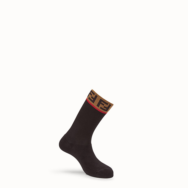FENDI SOCKS - Black stretch cotton socks - view 1 small thumbnail