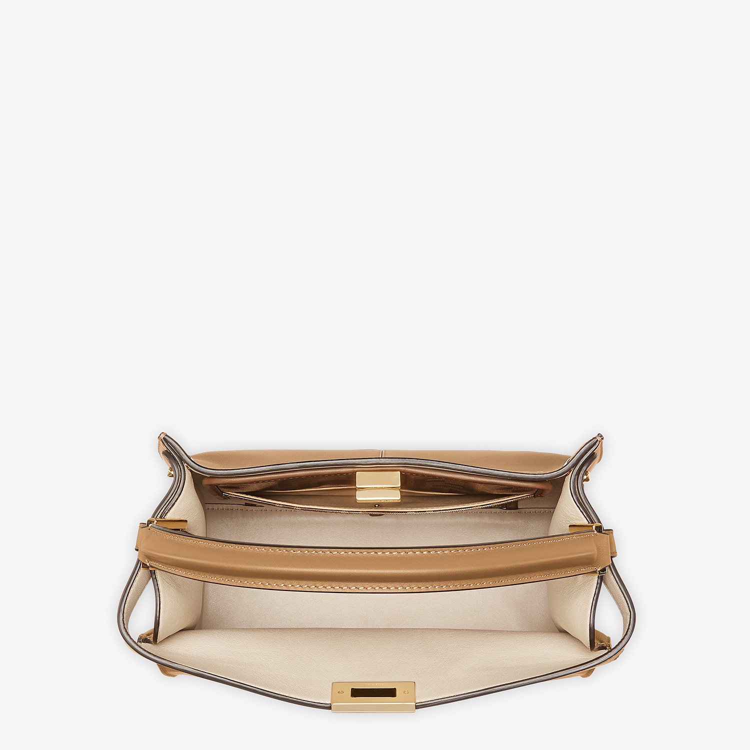 FENDI MEDIUM PEEKABOO X-LITE - Beige leather bag - view 6 detail
