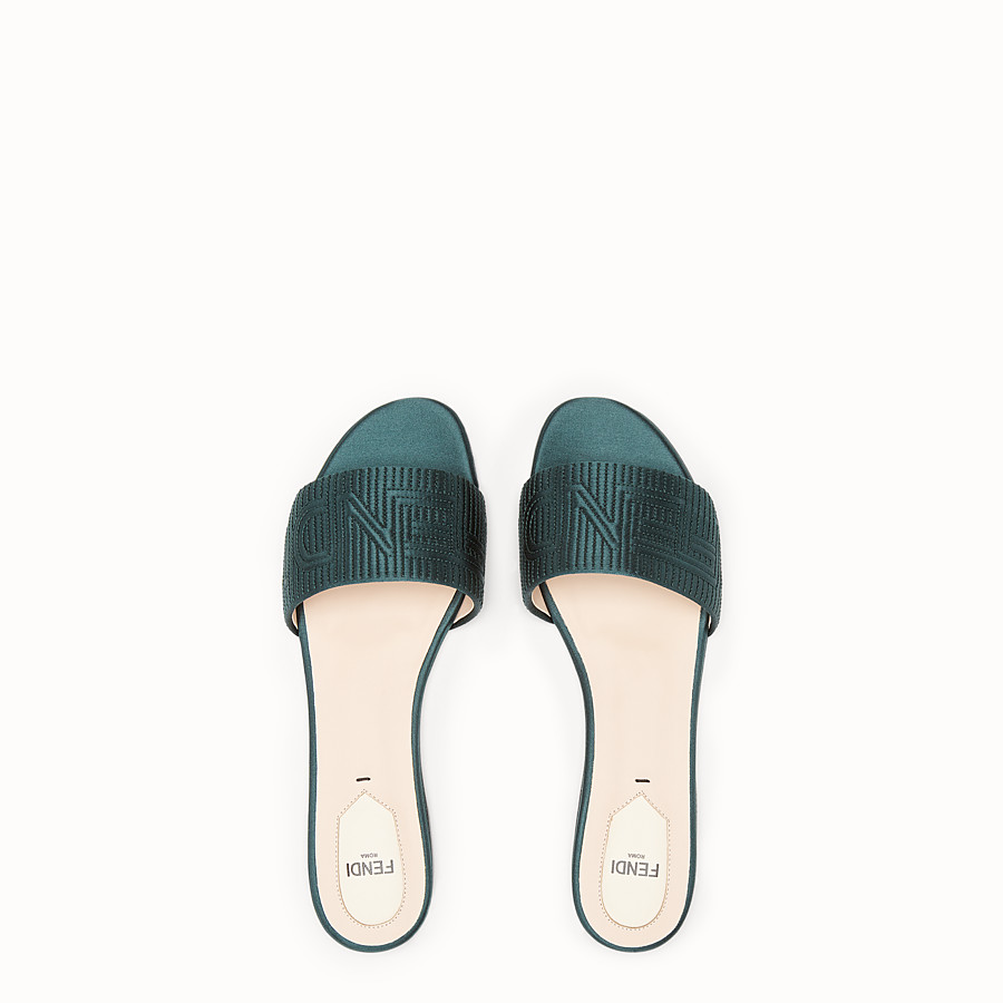 FENDI SABOTS - Green satin slides - view 4 detail