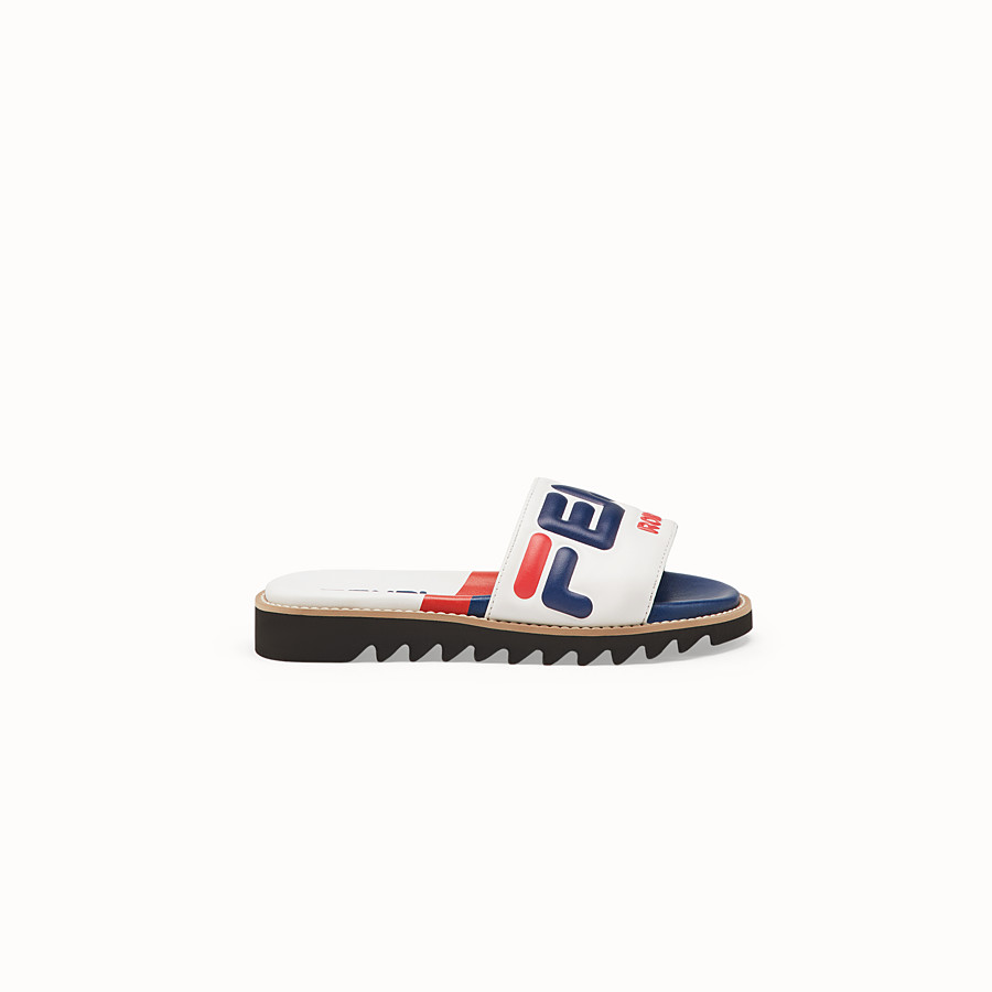 FENDI SANDALS - White leather slides - view 1 detail