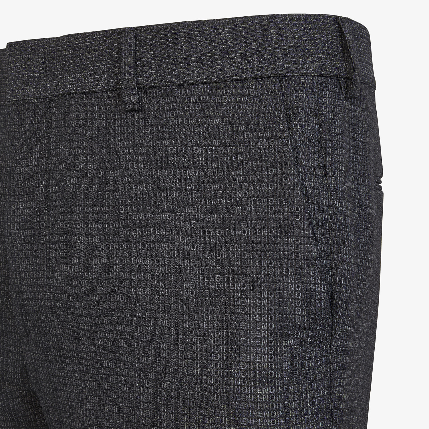 FENDI PANTS - Pants in black cotton, silk and wool - view 3 detail
