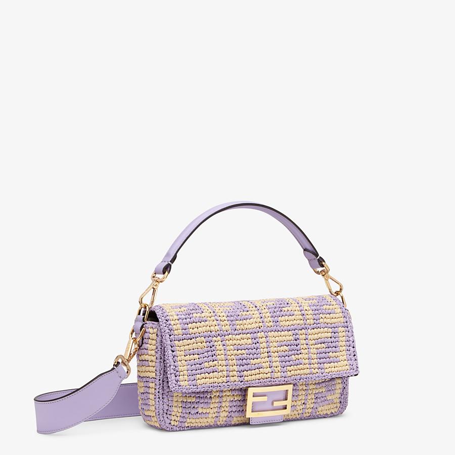 FENDI BAGUETTE - Lilac raffia FF bag - view 2 detail