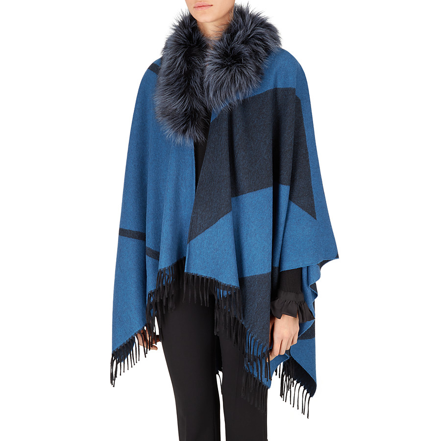 FENDI PONCHO - in cashmere and wool with fur - view 2 detail