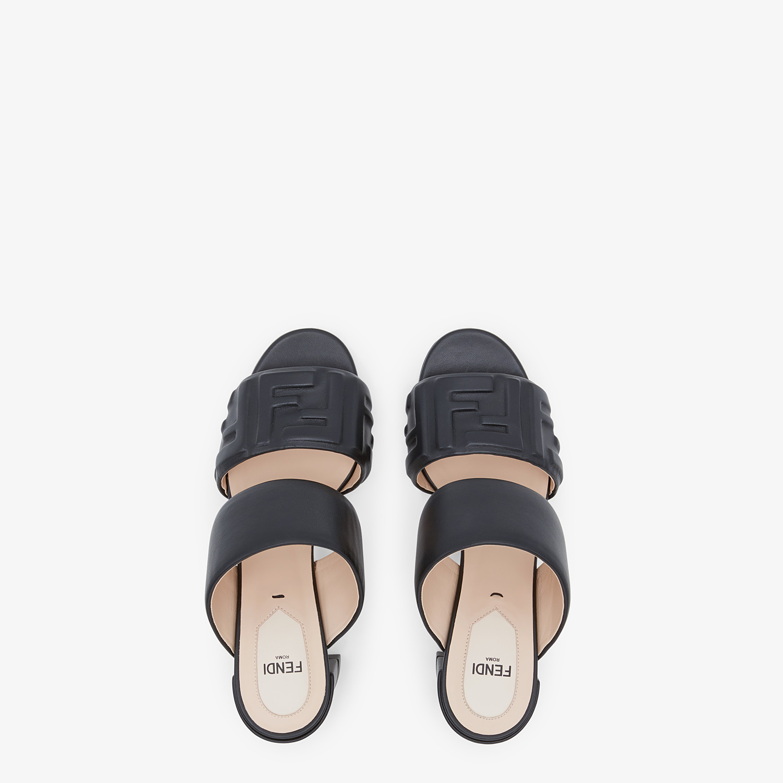 FENDI SLIDES - Black leather slides - view 4 detail