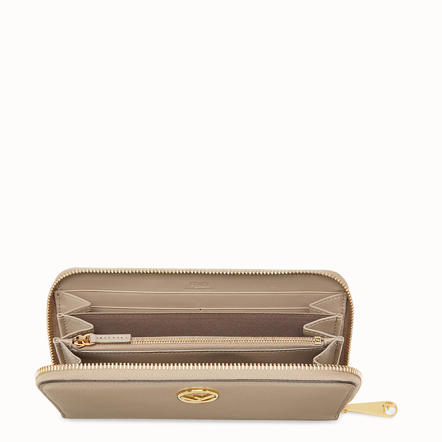 FENDI ZIP-AROUND - Beige leather wallet - view 4 detail
