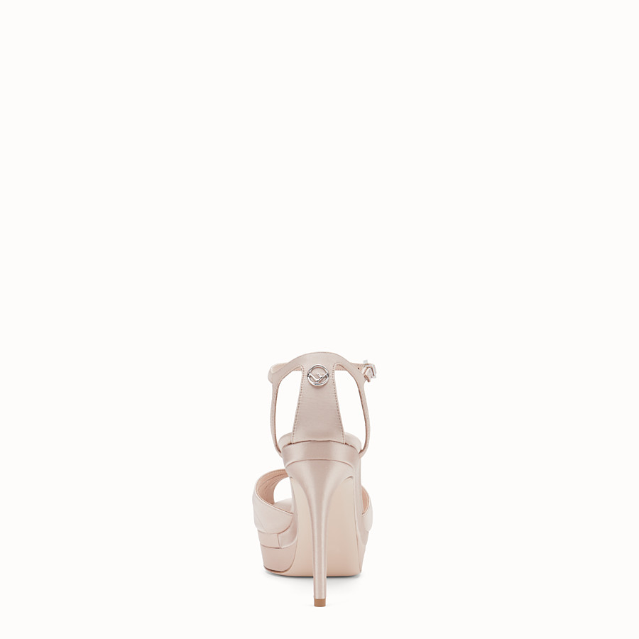 FENDI SANDALS - Pink satin high sandals - view 3 detail