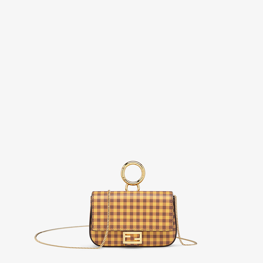 FENDI NANO BAGUETTE CHARM - Brown leather charm - view 1 detail