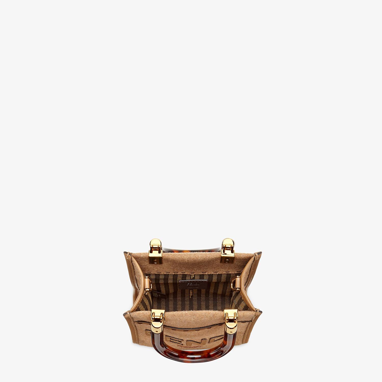 FENDI MINI SUNSHINE SHOPPER - Brown flannel mini-bag - view 5 detail