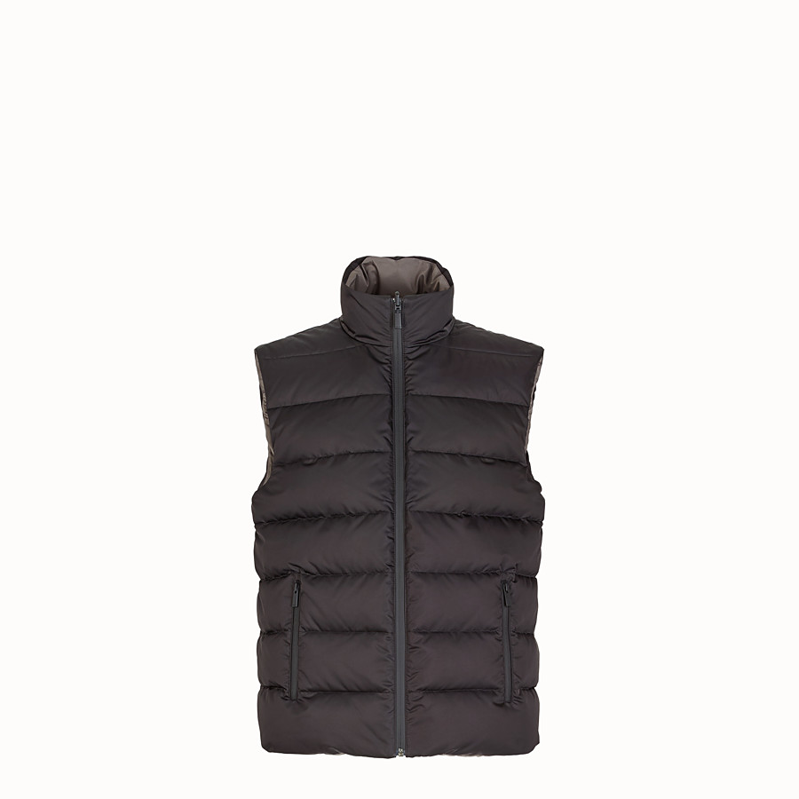 FENDI GILET - Black nylon gilet - view 1 detail