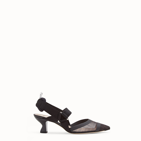 FENDI SLINGBACK - Colibrì in black leather and mesh - view 1 small thumbnail