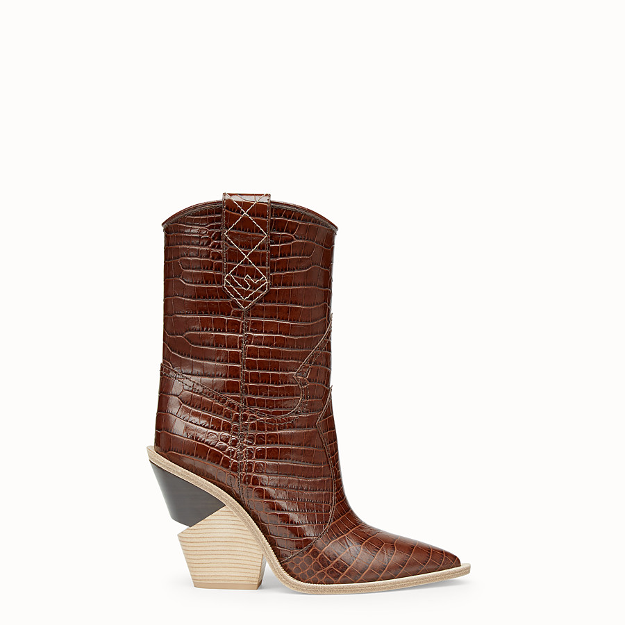 FENDI BOOTS - Brown leather ankle boots - view 1 detail