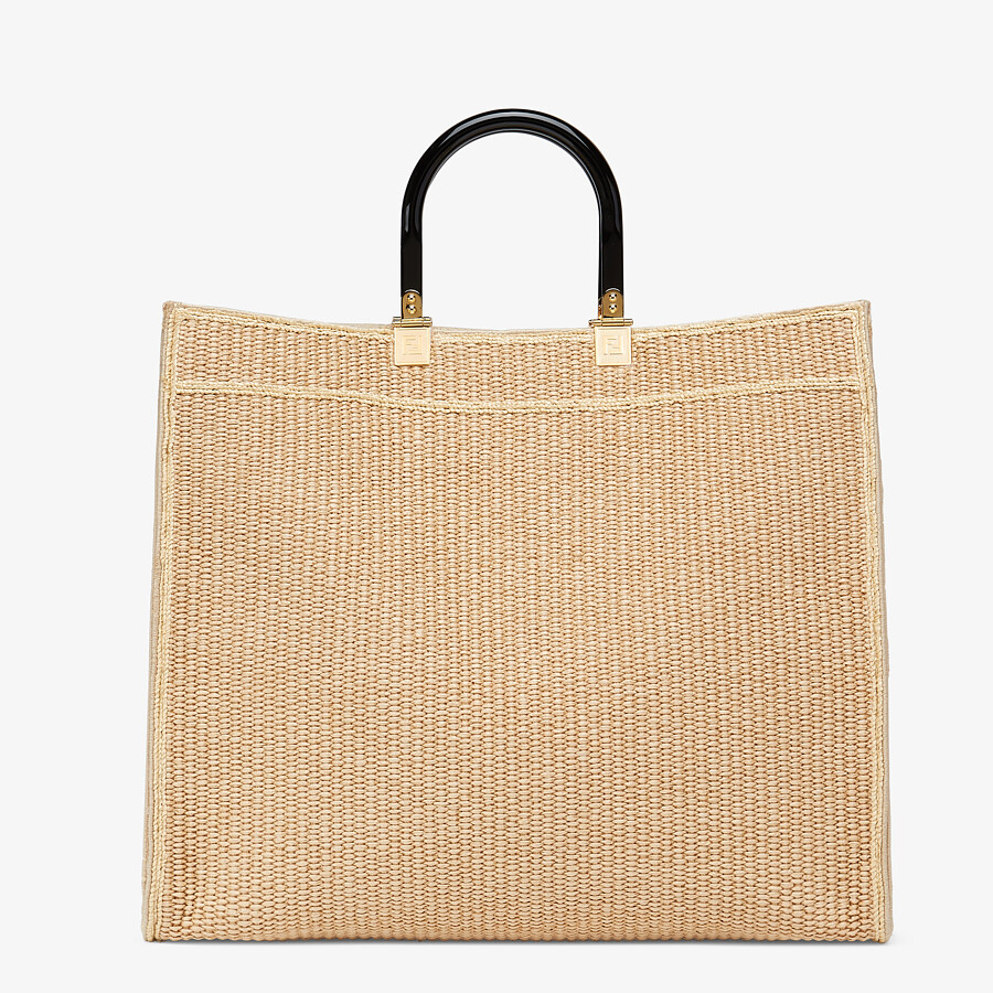 FENDI FENDI SUNSHINE LARGE - Woven straw shopper - view 4 detail