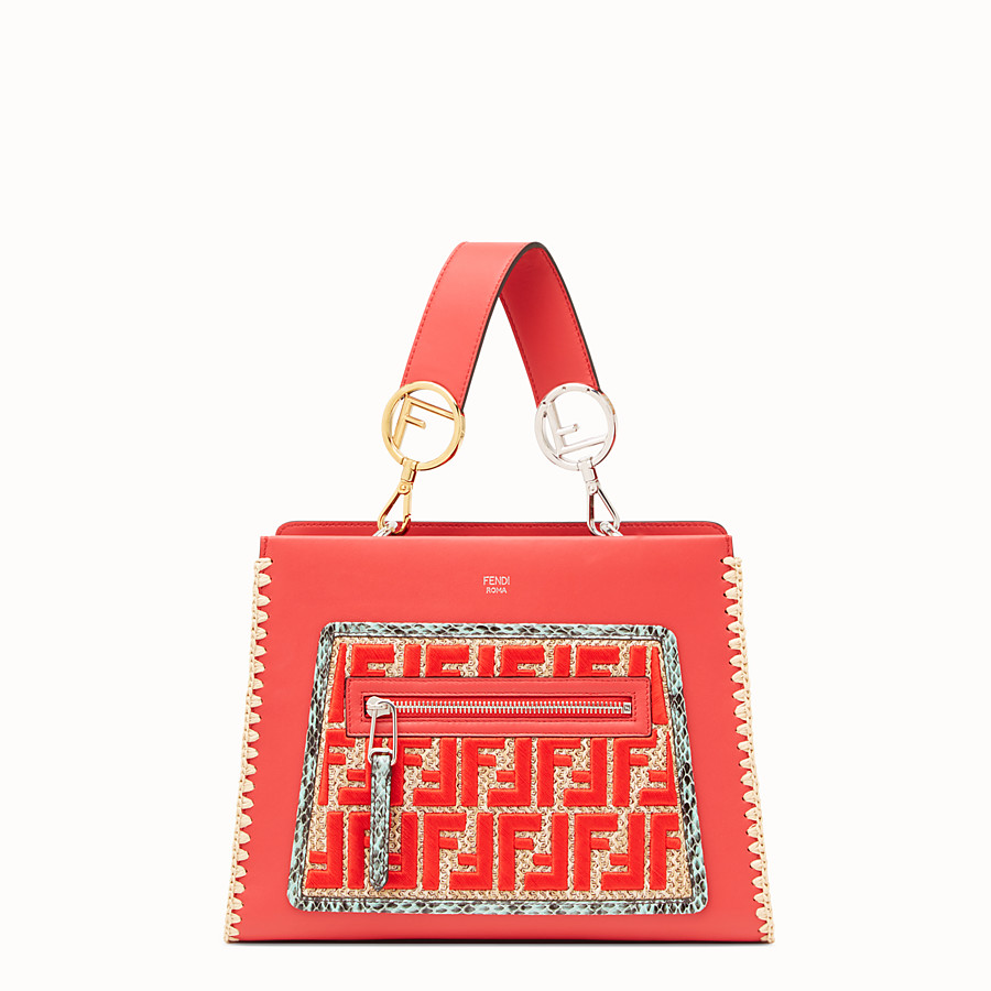 FENDI RUNAWAY SMALL - Red leather bag with exotic details - view 1 detail