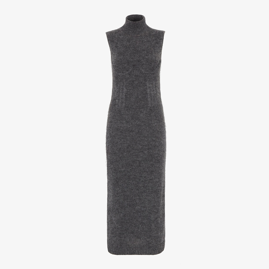 FENDI DRESS - Grey mohair and cashmere dress - view 1 detail