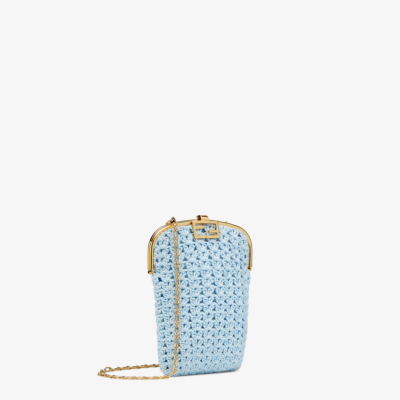 FENDI BAGUETTE PHONE BAG - Light blue fabric mini-bag - view 2 detail